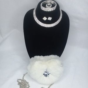 5pc. Rhinestone jewelry set and fur purse